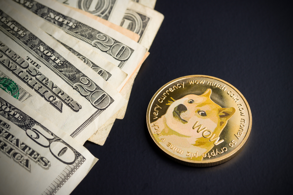 Dogecoin and dollars on black background. - Image