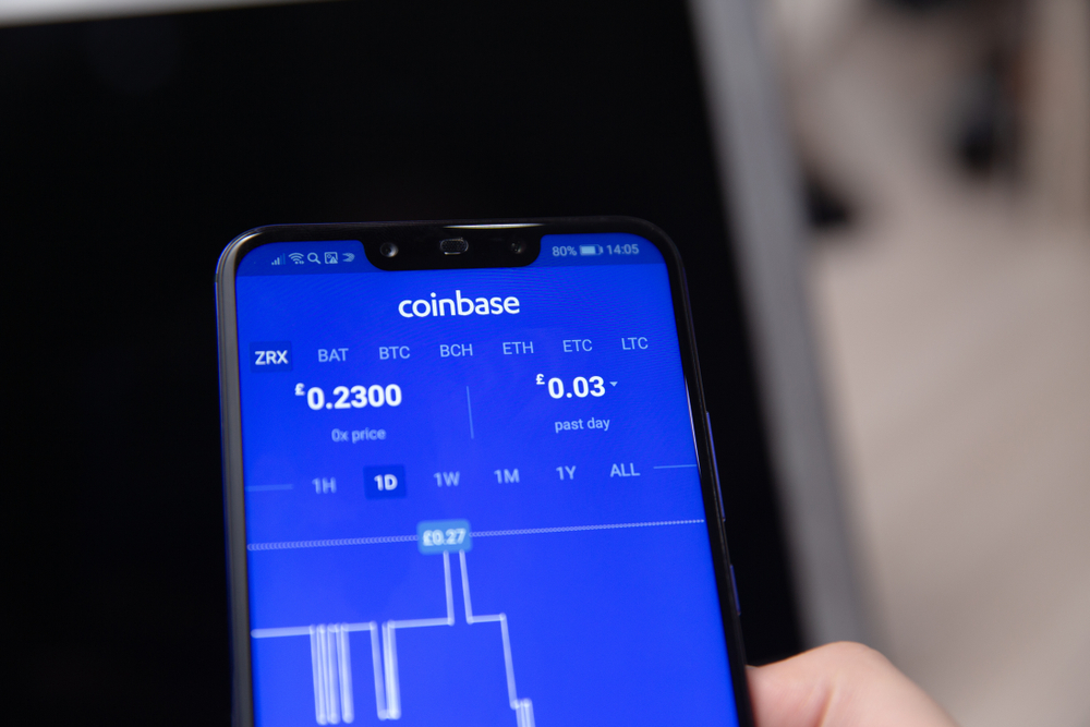 Tula, Russia - November 28, 2018 Coinbase - Buy Bitcoin and More, Secure Wallet mobile app on the display - Image
