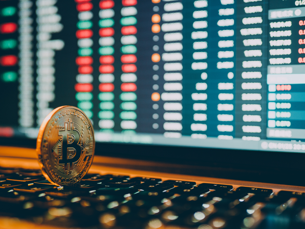 cryptocurrency and stock market business concept - Image