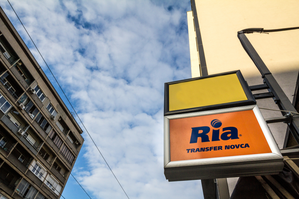 BELGRADE, SERBIA - SEPTEMBER 27, 2018 Ria logo on their main exchange office for Belgrade. Ria is an American financial services company specialized in Money transfers - Image