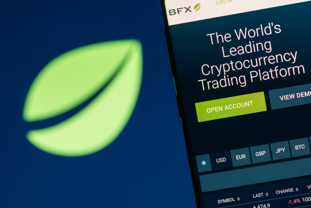 KYRENIA, CYPRUS - OCTOBER 3, 2018 Bitfinex website displayed on the smartphone screen. Bitfinex is a cryptocurrency trading platform. - Image