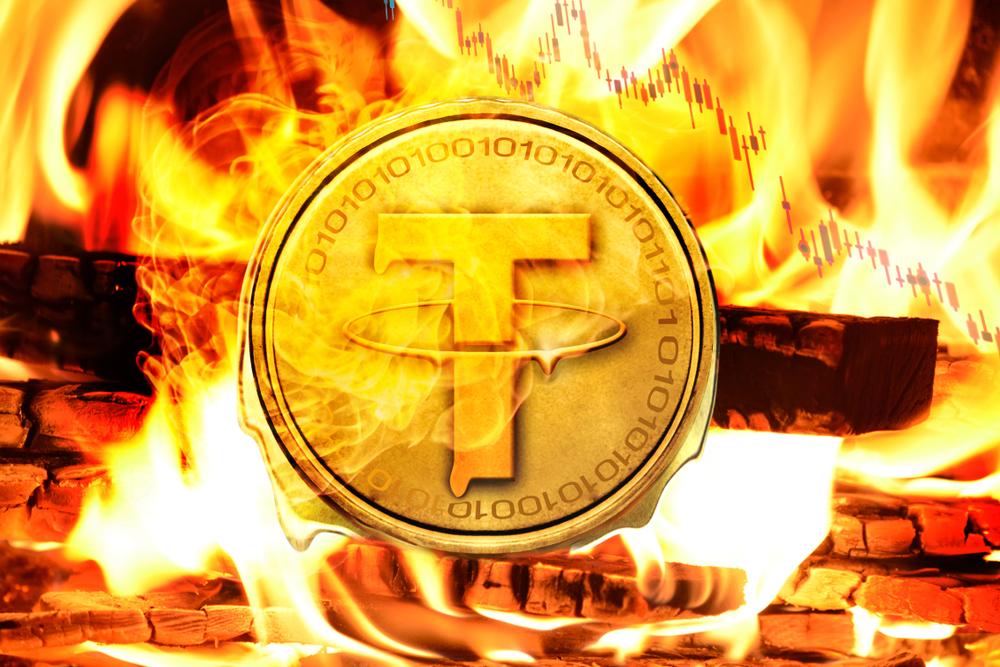 Tether coin or USDT coin buring in Bonfire, Price Value Going down concept photo - Image